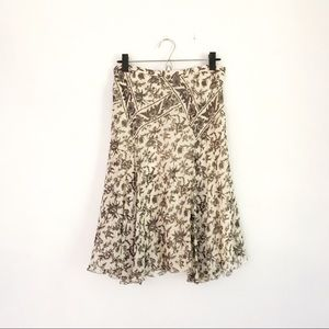 NWOT Max Studio Black and White Floral Silk Skirt